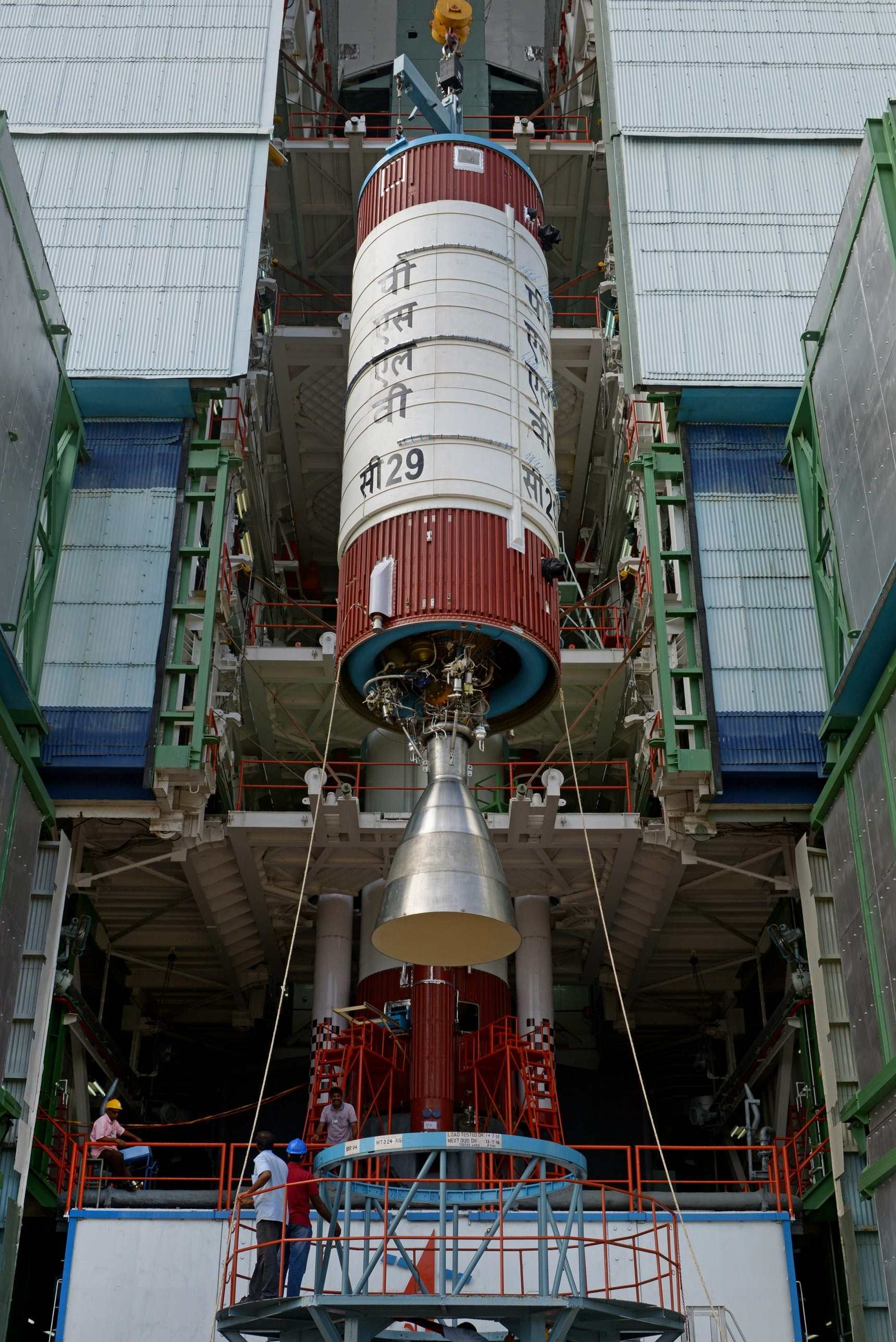 PSLV C-29's second stage being hoisted for integration. Source - ISRO