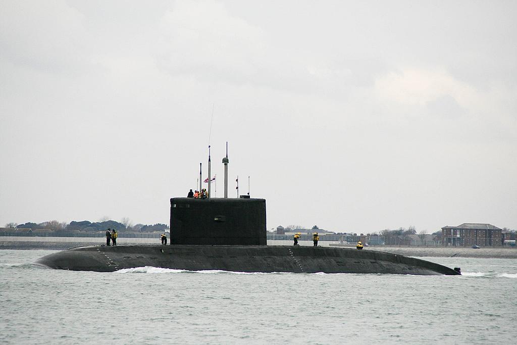 A Kilo-classsubmarine underway.