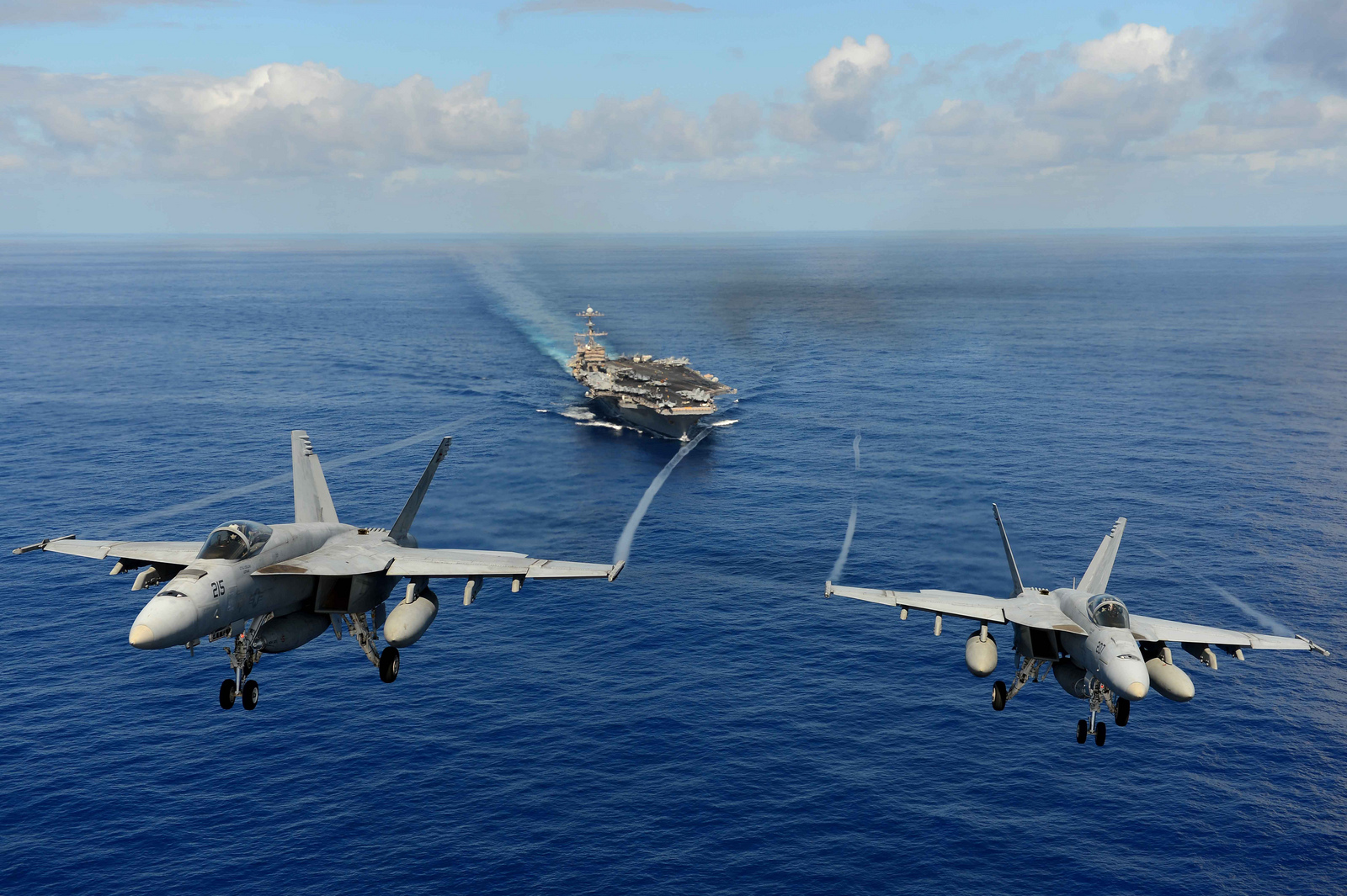 F-18 E Super Hornet aircraft taking off; Source - Net.