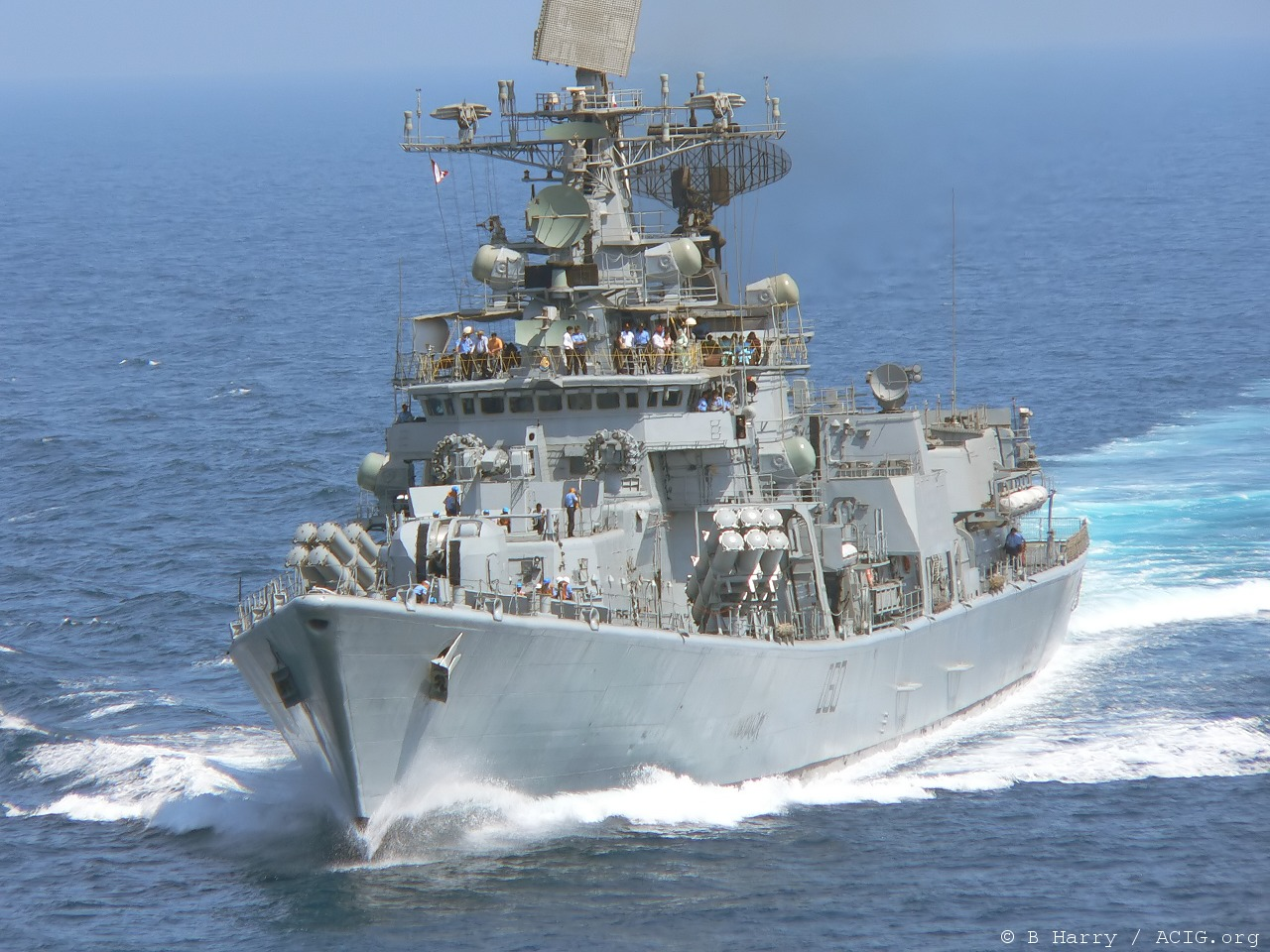 A Delhi Class destroyer underway. Source - Net.