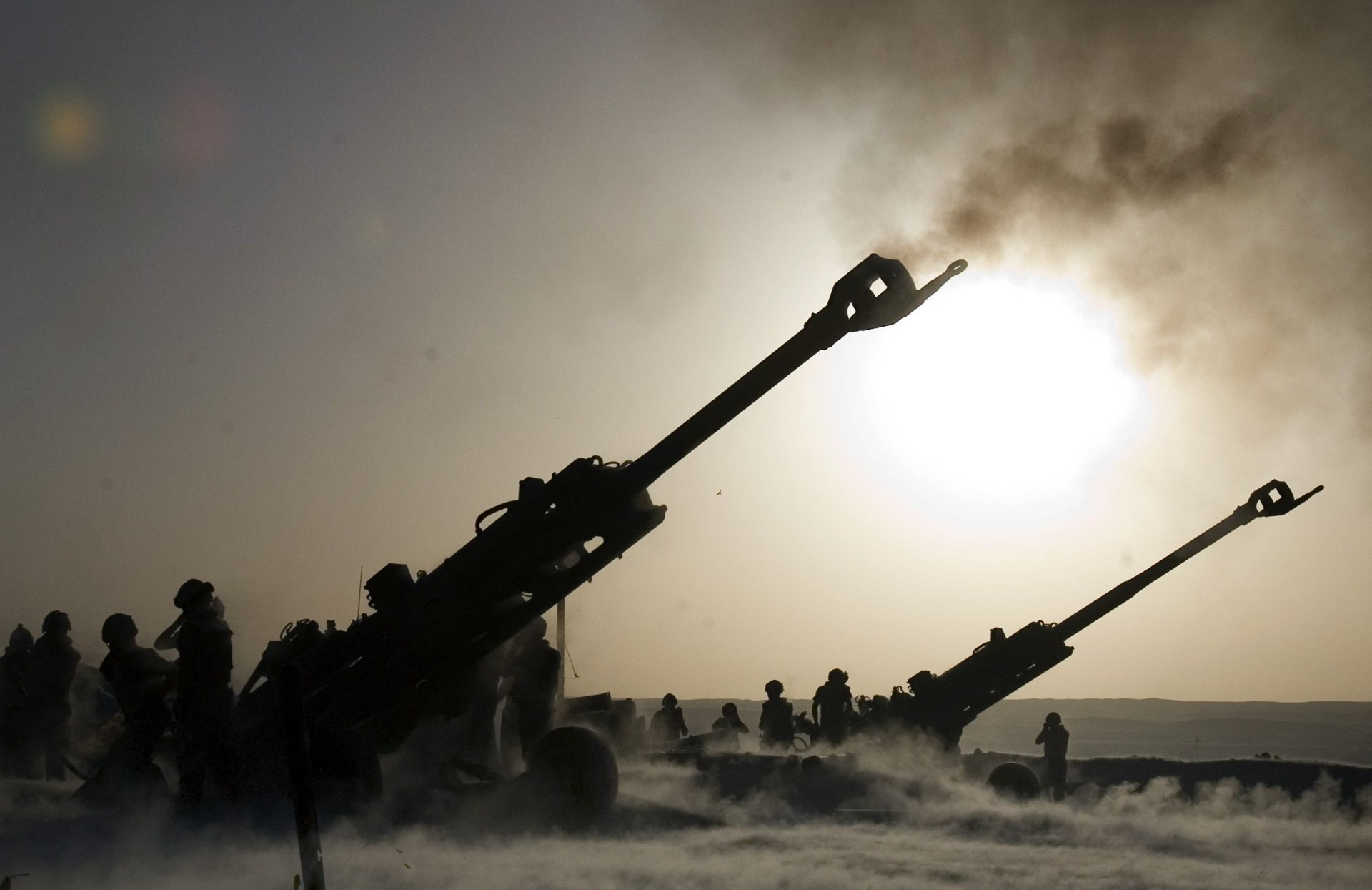 M777 howitzers in action at Afghanistan.