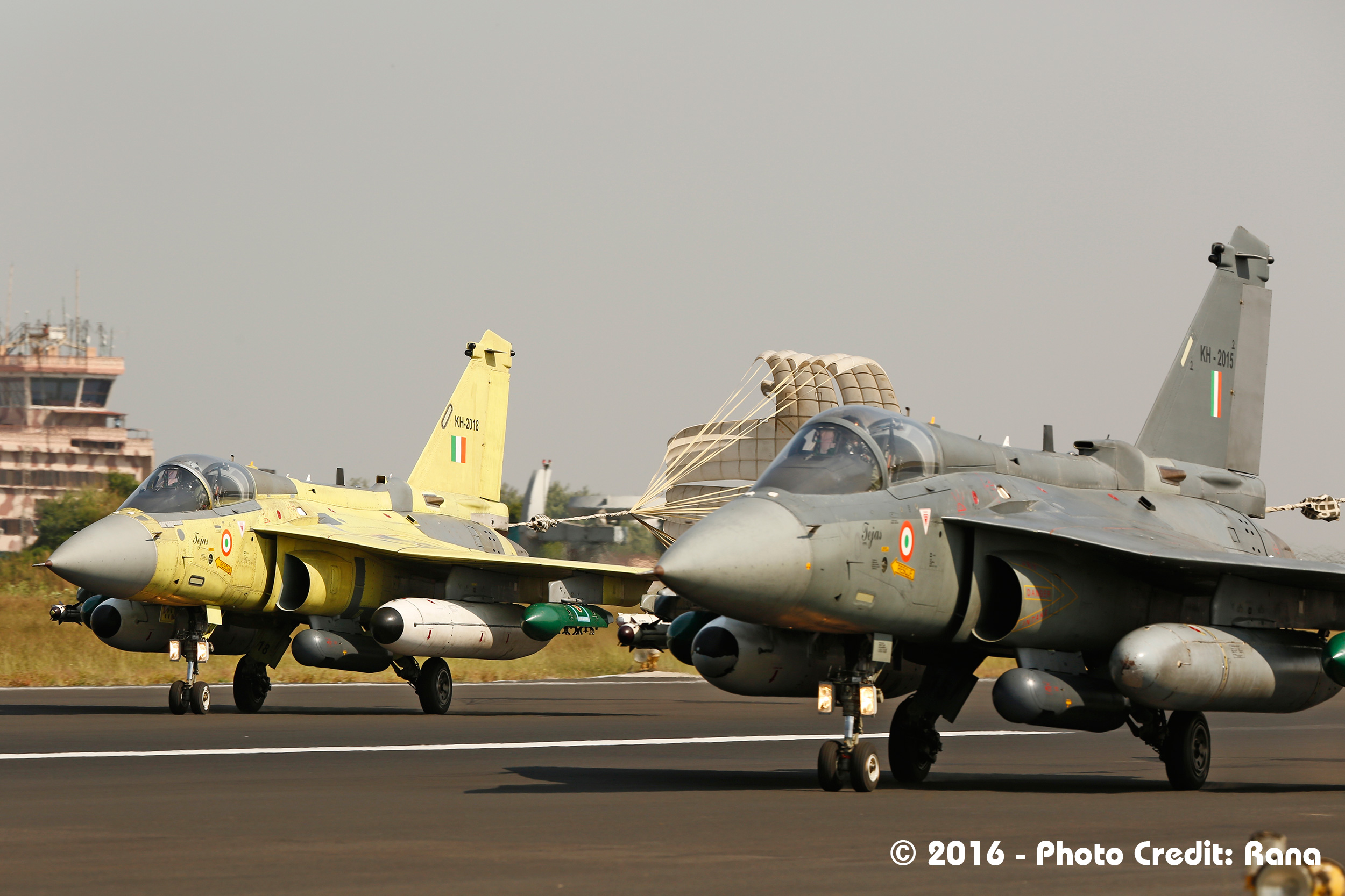 Tejas aircraft performing pair landing; Credits - Deb Rana.