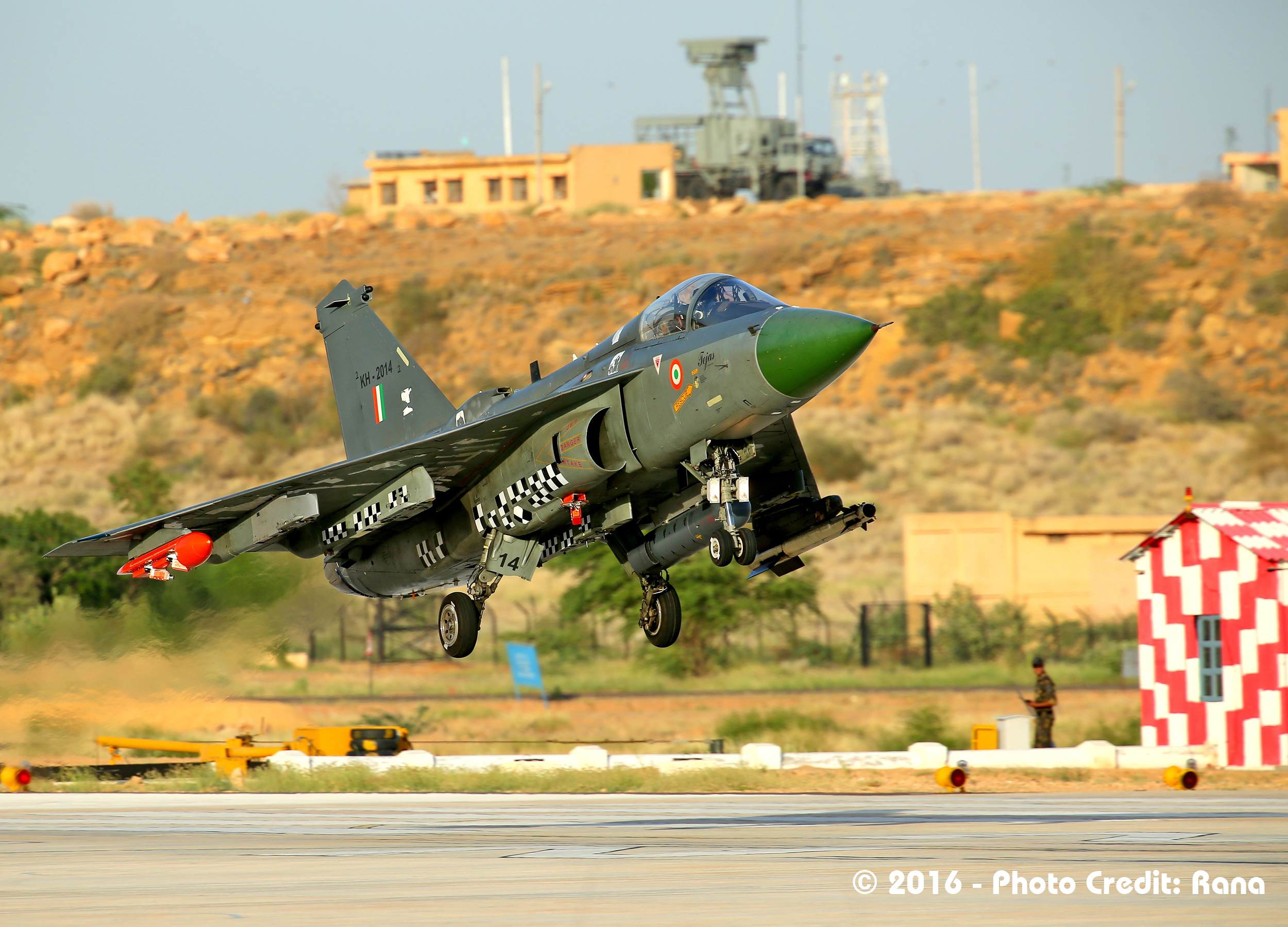 LCA Tejas on a store separation flight trials.  Source - Deb Rana.