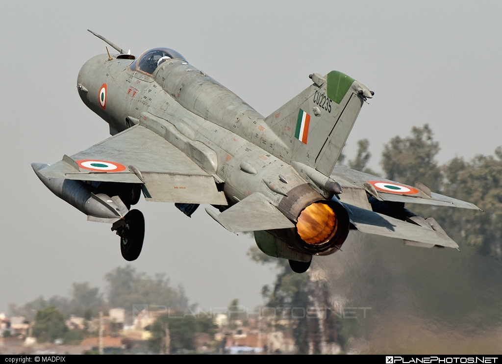 A MiG-21 Bison supersonic fighter aircraft of the Indian Air Force takes off on a routine sortie; Credits - MadPix