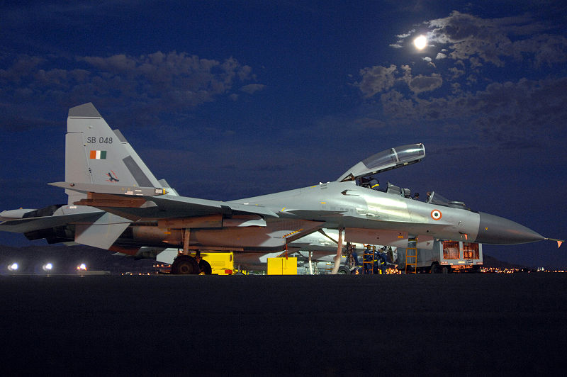 Sukhoi Su-30 MKI fighter aircraft of the IAF resting one the tarmac. Ex-Redflag.
