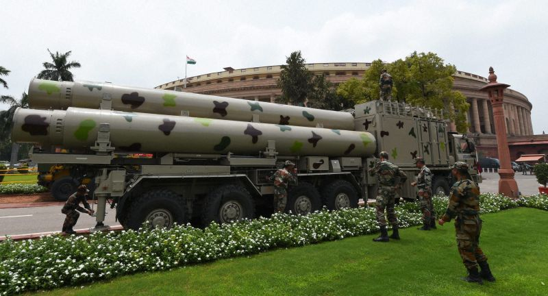 BrahMos cruise missiles in the background of the Parliament building.  Source - Deccan Chronicle.