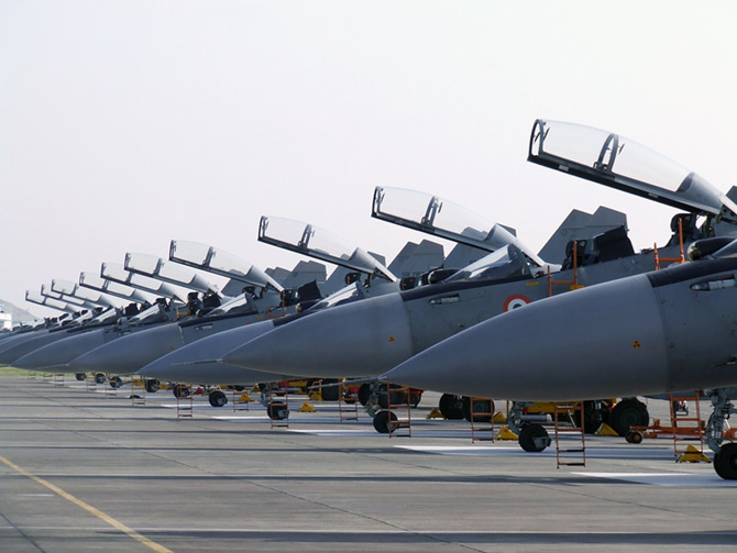 Line-up of Sukhoi Su-30 MKI aircraft at Lohegaon Air Force Base, Pune, Credits - T S Ashok/ Rastrapathi Bhavan.